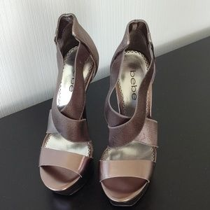 Bebe High Platform Silver Bronze Sandals